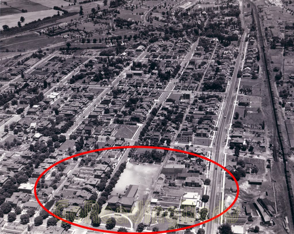 Aerial View of West Lawn Elementary School, 1932.