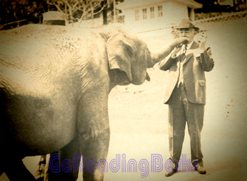 Milton Hershey with an elephant at ZooAmerica