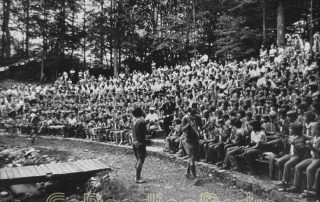 Scouts gather at the Campfire Circle at Camp Shikellamy