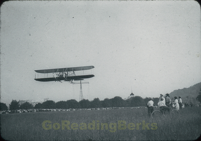Wright Biplane over Mt. Penn and Reading