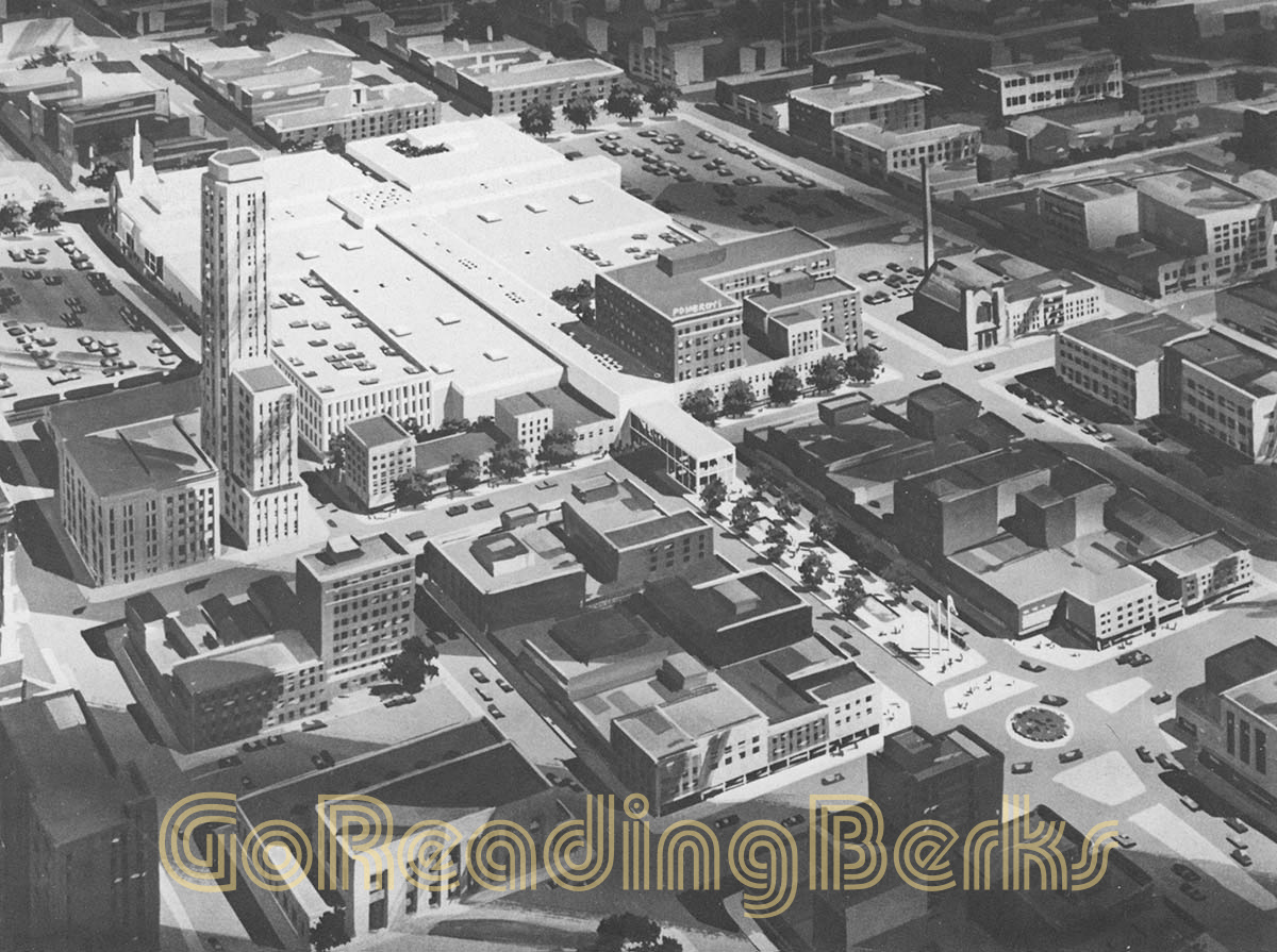 Architect's rendering of Penn Mall envisioned in the early 1970s