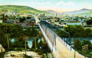 Penn Street old iron truss bridge looking east