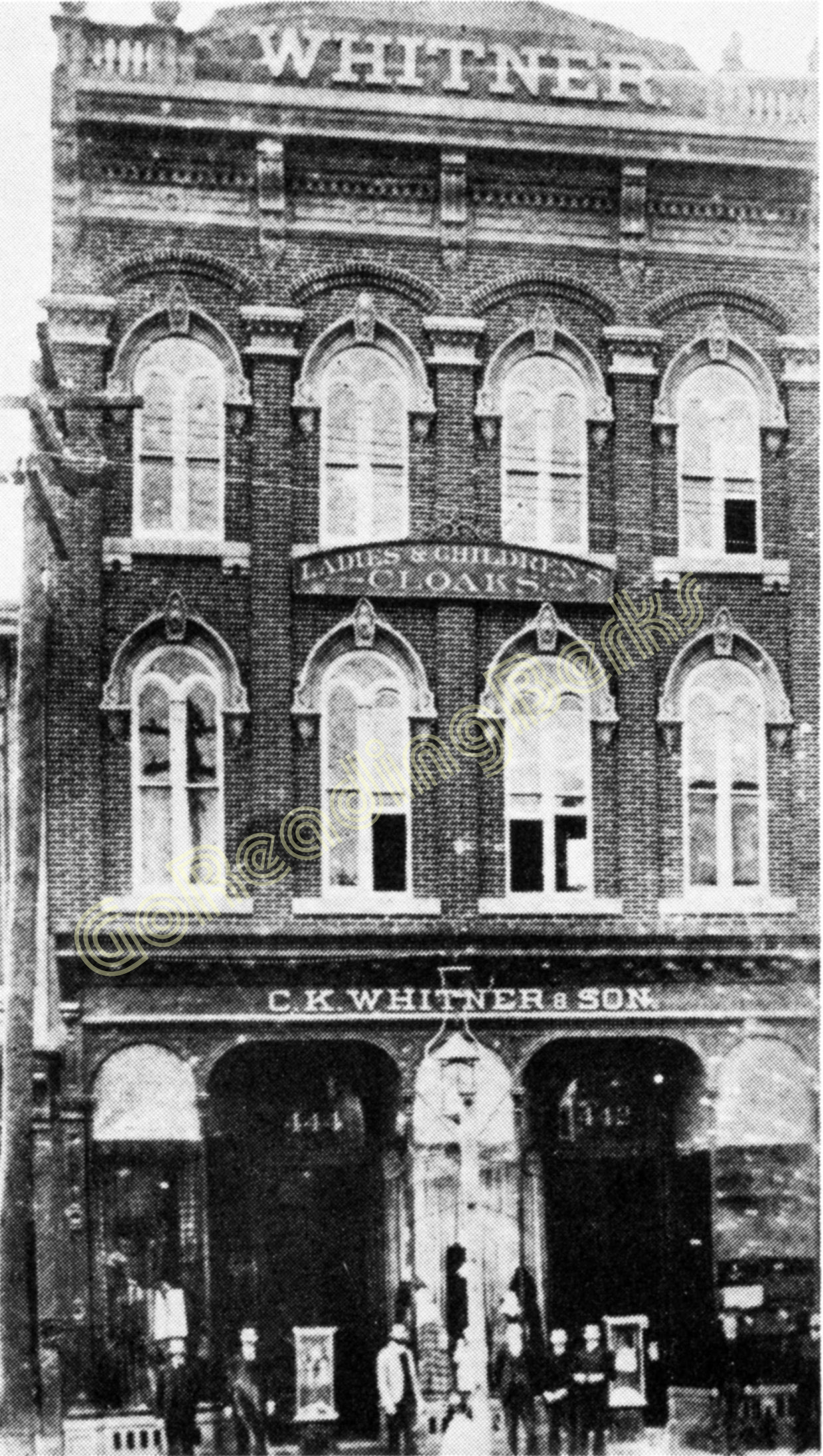 "Like the predecessors of many other Penn street establishments, Mr. Whitner's first store was confined entirely to the first floor of a converted dwelling. It handled a line of dry goods and notions. All the selling space was on the first floor while a portion of the basement and second floor were used for receiving rooms and storage. The room available for selling space was typical of the first floor facilities of any large dwelling in those days. It contained less than 2,000 square feet in a room of about 20 by 90 feet. A newspaper description gives the following account of store's opening: ""Mr. Calvin K. Whitner will open today at 432 Penn street, a new dry goods store, with an entire new stock. Mr. Whitner is one of our most careful and energetic businessmen, and having had long experience, will be able to conduct his establishment on first-class principles. The opening today, it is expected, will be largely attended by the ladies of this city, to whom every facility will be extended for a thorough examination of the stock."" As recorded in Whitner's ledger, first-day sales total $159. Each day the volume grew and at the end of the first year he was able to report that his total sales had aggregated slightly less than $37,000. It was only six years after the store was opened that the need for larger quarters was felt. So business and stocks were transferred in 1883 to the buildings at 442-444 Penn Street. The store building at 444 Penn Street had been vacated by Dives, Pomeroy & Stewart. Mr. Whitner conducted the business by himself individually until 1889 when his son, Harry K. Whitner was taken into the firm. The firm traded as C. K. Whitner & Son until the son's death in December, 1890. More departments were added and in 1891 additional expansion was accomplished by extending back to Cherry Street. In 1896, a faithful employee for many years, John A. Britton, was admitted as a partner, and the firm name became C. K. Whitner & Co. One year later, in 1897, rooms at 438 and 440 Penn street were added and in 1899 more space toward Cherry Street was utilized. The department store continued to expand and, by 1910, a four-story main building stood on Penn Street, with a five-story structure in the rear on Cherry Street. At the completion of the expansion and modernization more than 60,000 square feet of floor space was available, including warerooms."