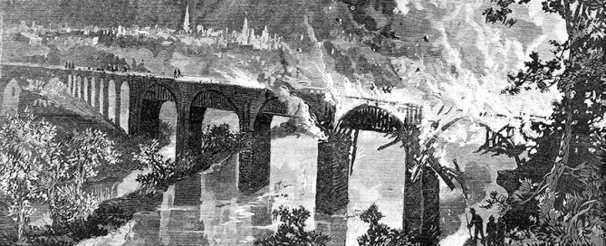 Burning Of The Lebanon Valley Railroad Bridge