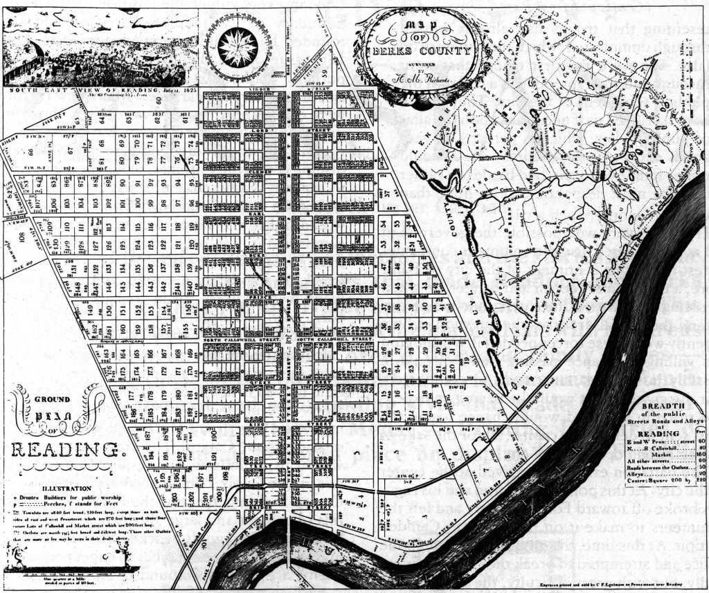 1816 map of Reading, PA