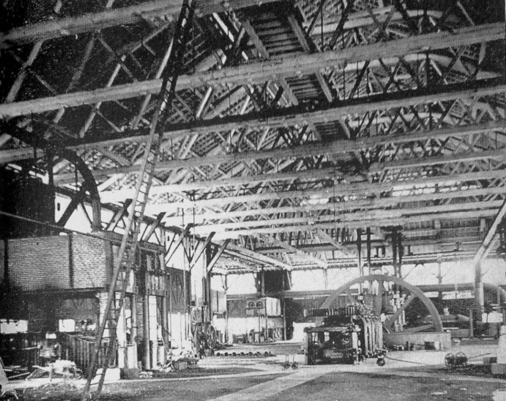 Interior view of the locomotive shops