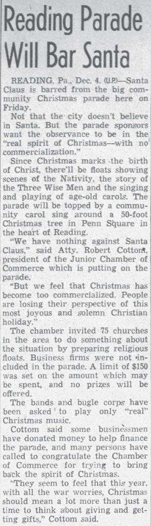 Santa Banned from Annual Christmas Parade at Reading